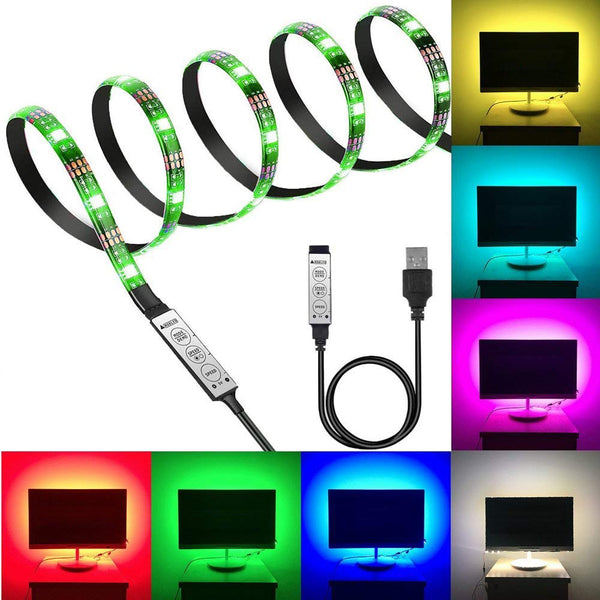 LED Flexible Strip Light Multi Color 5V USB Powered Mini Controller (1 Meter)