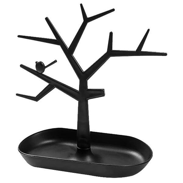Tree Design Jewelry Display Tower Necklace Earring Bracelet Holder Key Organizer Stand, Black (Pack of 1)