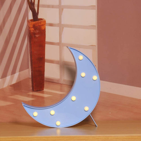 Marquee Light Moon Shaped Blue Color (Pack of 1)
