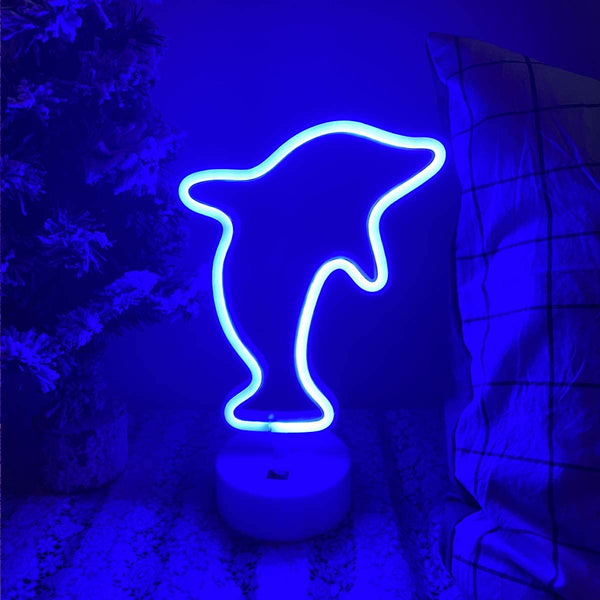 Neon Light Dolphin Shaped Blue Color with Holder Base (Pack of 1)