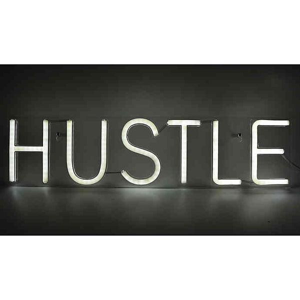 Neon Light Wall Art Sign Hustle Shaped (Pack of 1)
