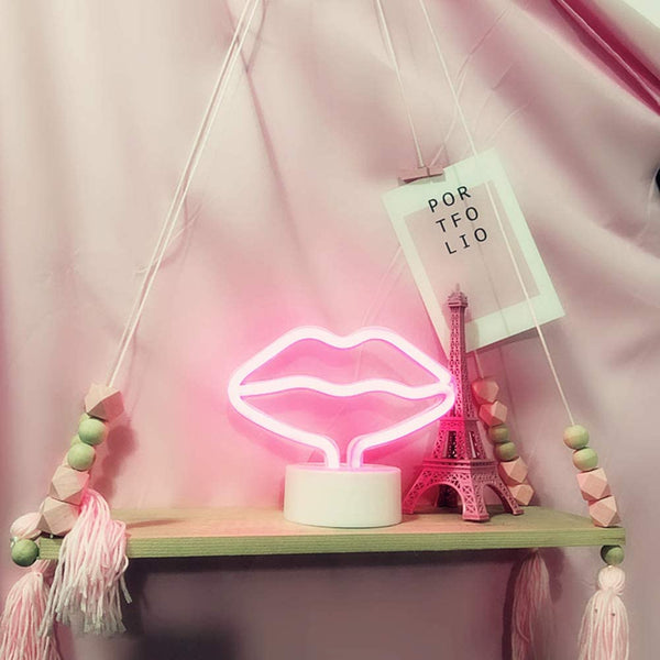 Neon Light Lips Shaped Pink Color with Holder Base (Pack of 1)