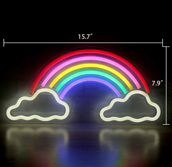 "Neon Light Wall Art Sign ""Rainbow & Cloud"" Shaped Multi Color (Pack of 1)"