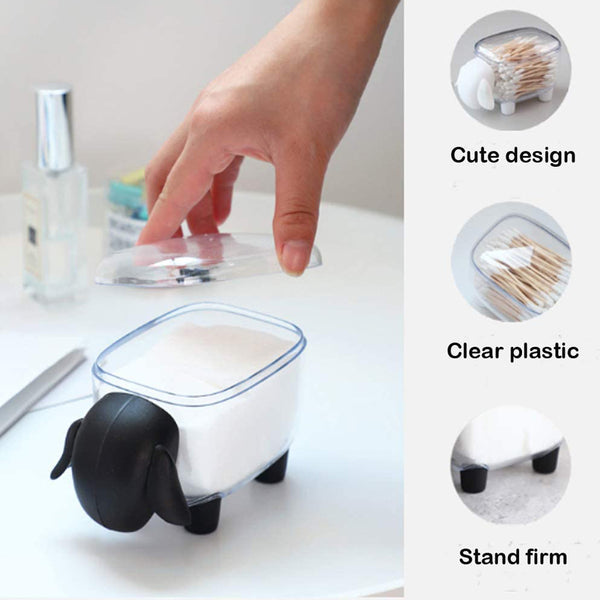 Cotton Ball And Swab Holder Organizer With Lid, Bathroom Jars, Q-Tips Swab Toothpick Dispenser Canister Organizer-Sheep Black (Pack of 1)
