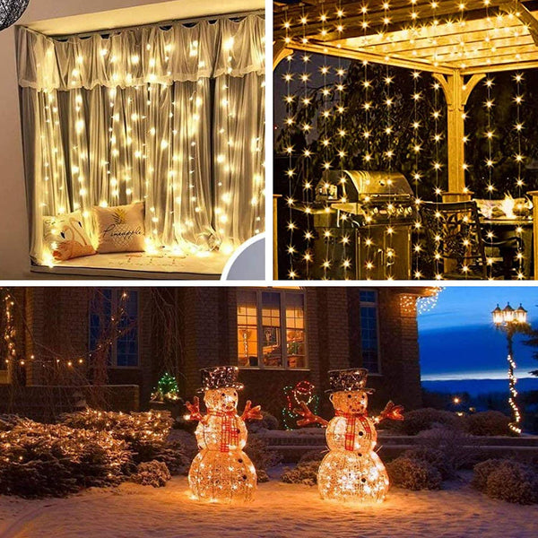 Curtain String Light for Window 300 LED 8 Lighting Modes Fairy Lights Remote Control USB Powered Waterproof Lights for Diwali Valentines Bedroom Party Wedding Home Wall Decorations (9.8 x 9.8) Feet - Warm White