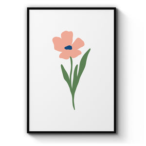 Simple Flower Illustration Scandi Style Wall Art - The Affordable Art Company