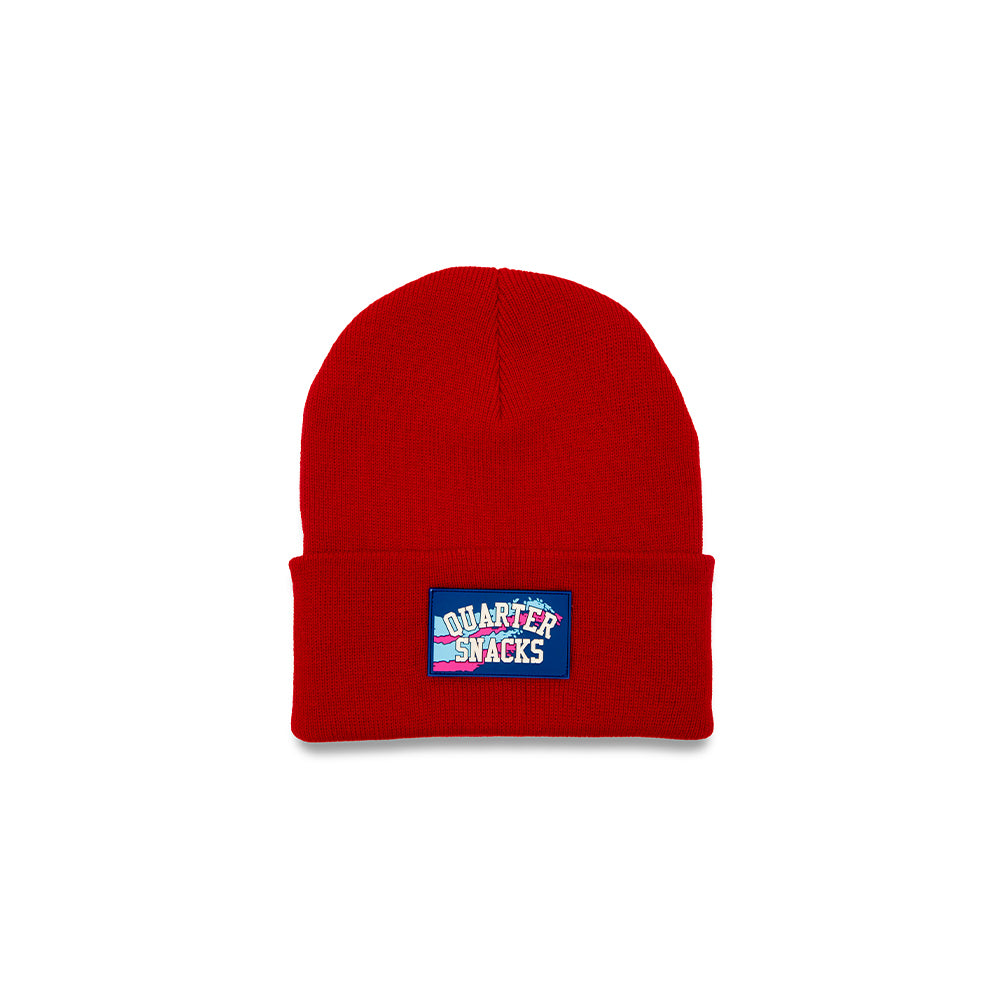 "QUARTERSNACKS  - Rubber Label Beanie ""Red"""