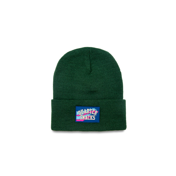"QUARTERSNACKS  - Rubber Label Beanie ""Forrest Green"""
