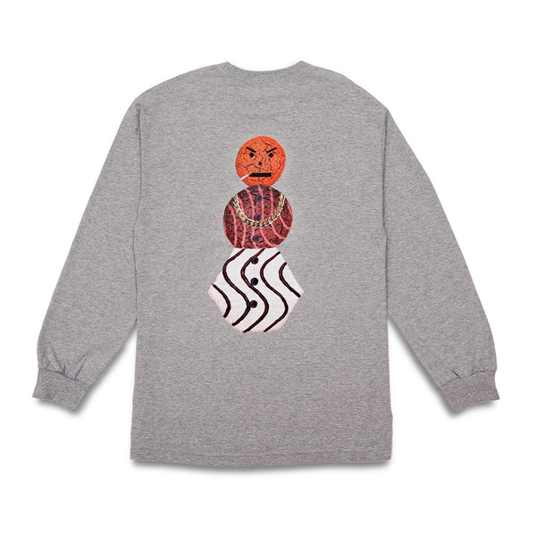 "QUARTERSNACKS  - Classic Snackman L/S Tee ""Heather Grey"""