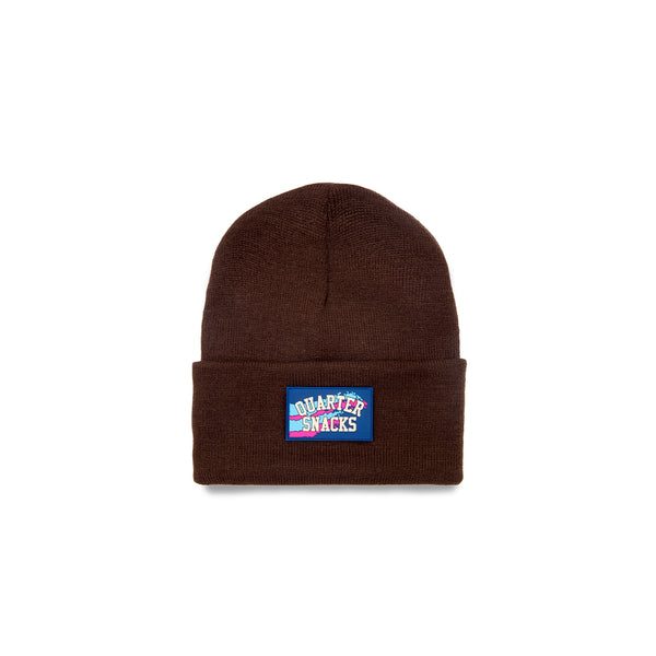 "QUARTERSNACKS  - Rubber Label Beanie ""Brown"""