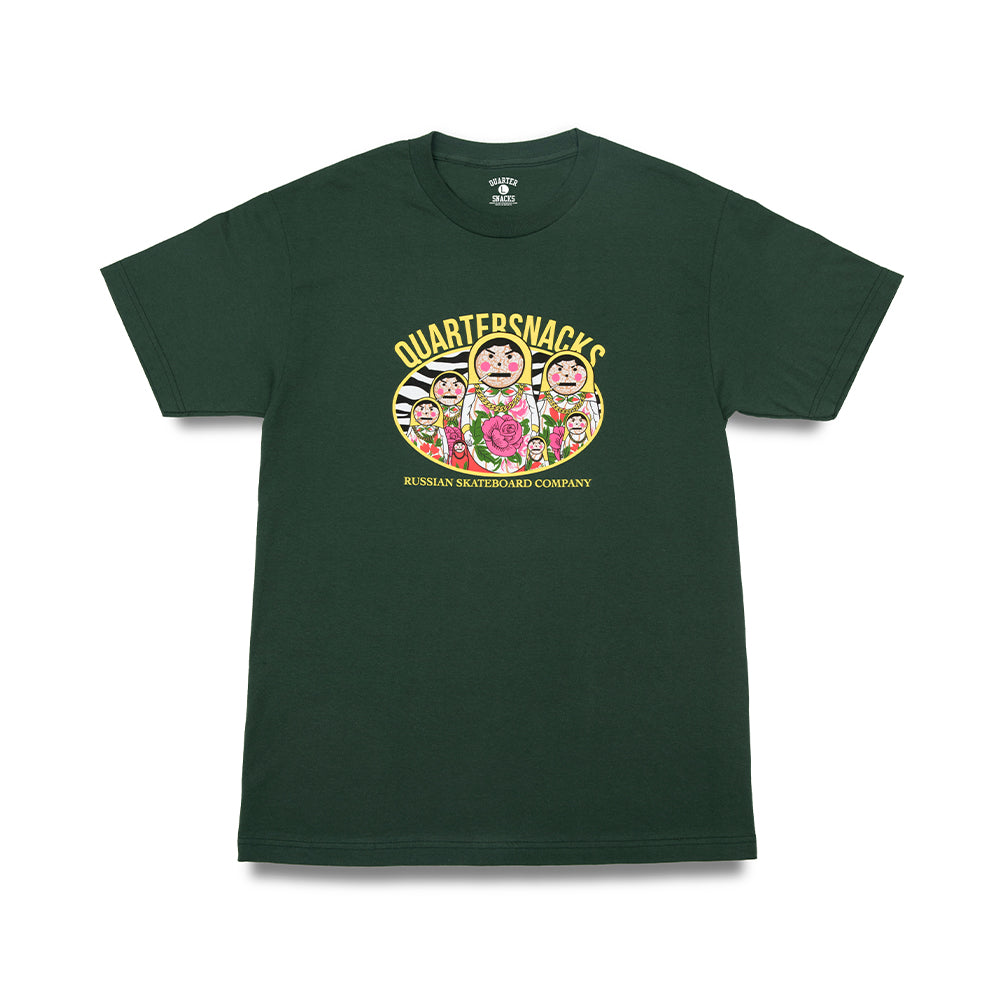 "QUARTERSNACKS  - Russian Doll Tee ""Forrest Green"""