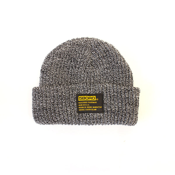 "5BORO - 5B Tactical Beanie - Low Fit ""Black & White Marl"""