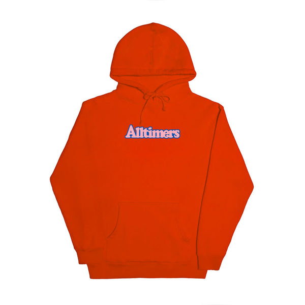 "ALLTIMERS - Embroidered Broadway Hoodie ""Safety Orange"""