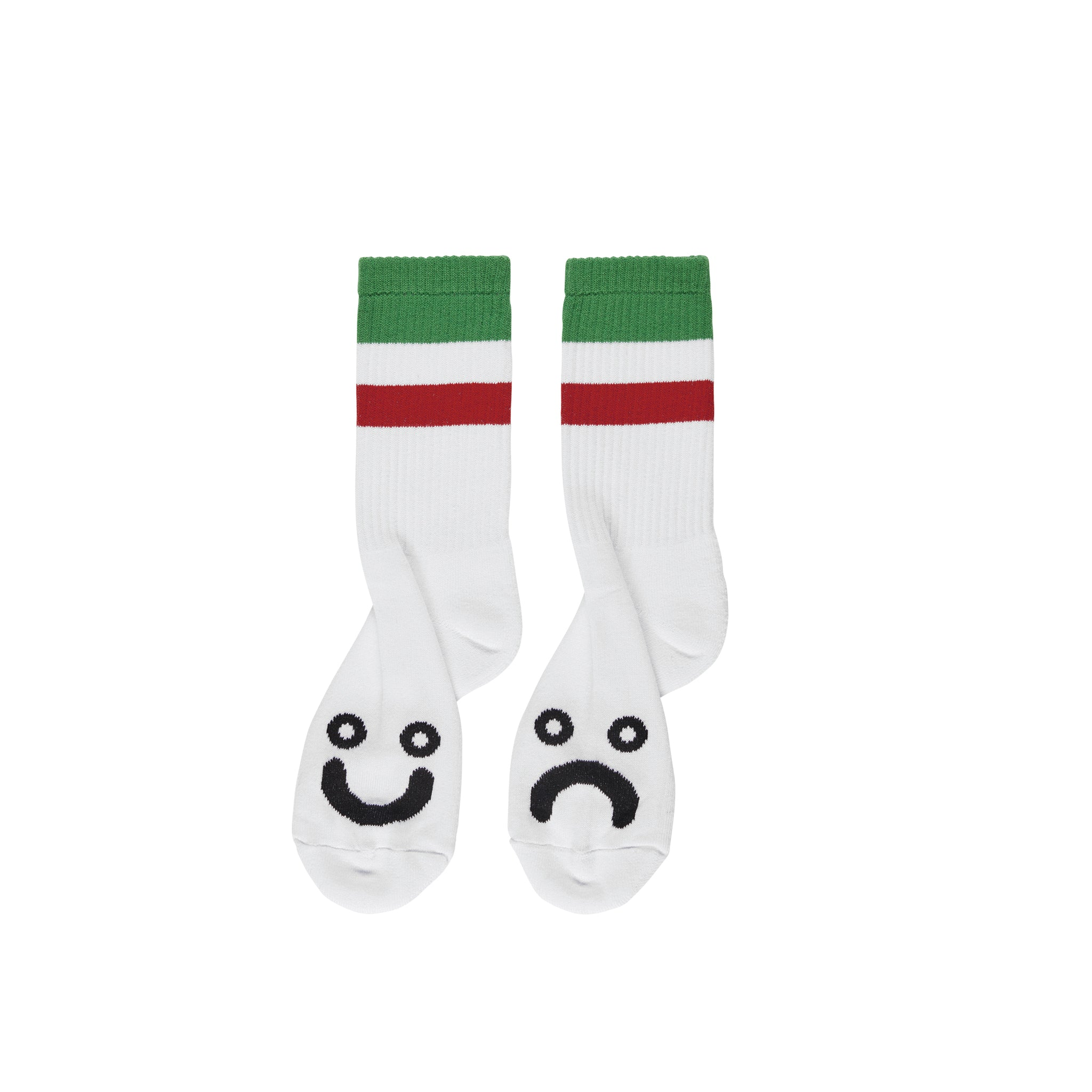 "POLAR - Happy Sad Socks Stripes ""Green/Red"""
