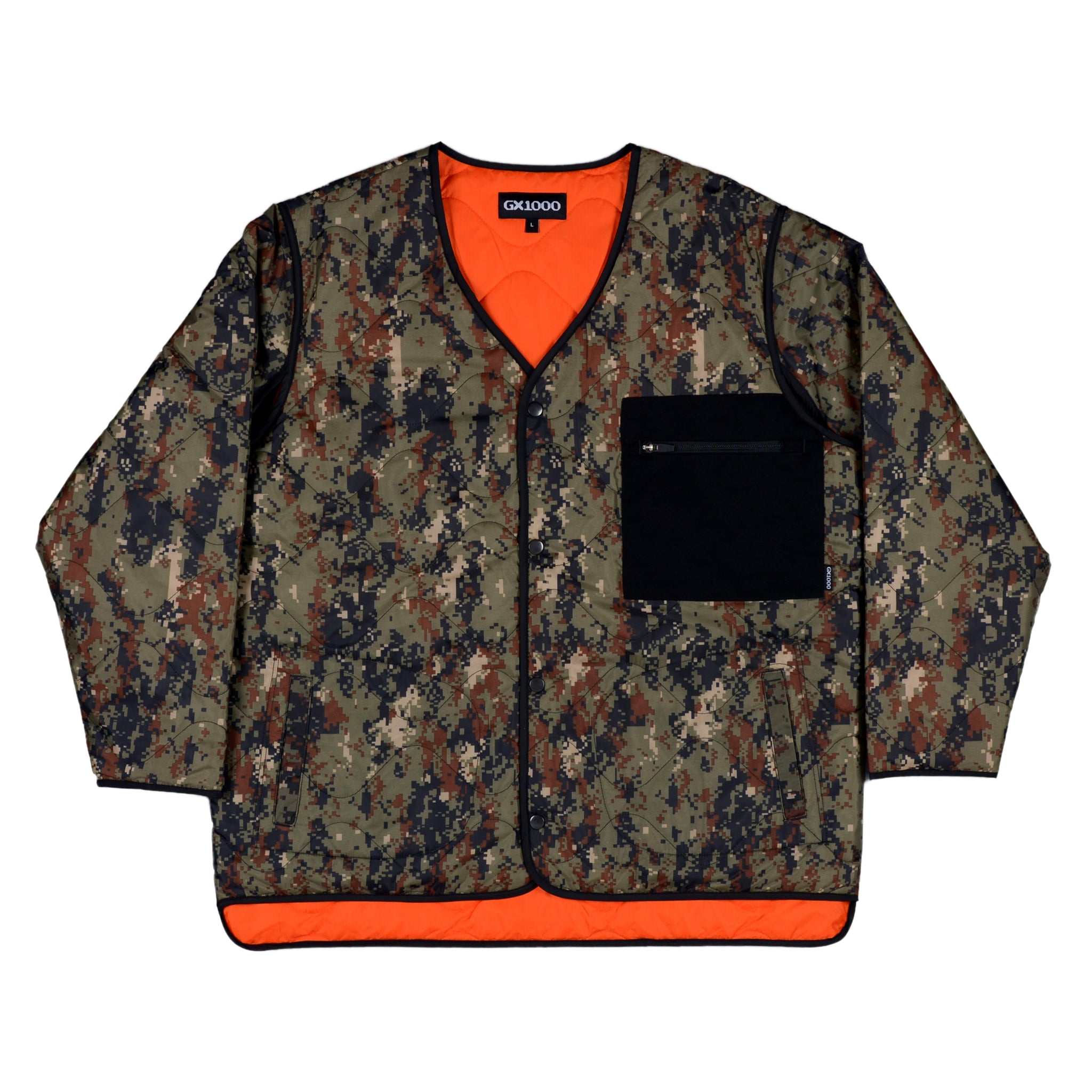 "GX1000 - Reversable Quilted Liner Coat ""Camo / Safety Orange"""