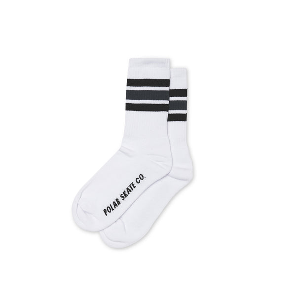 "POLAR - Stripe Socks ""White / Black / Grey"""