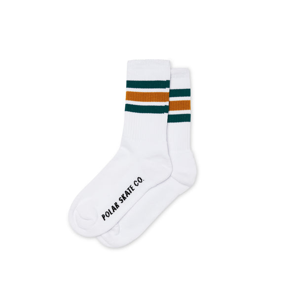 "POLAR - Stripe Socks ""White / Teal / Orange"""