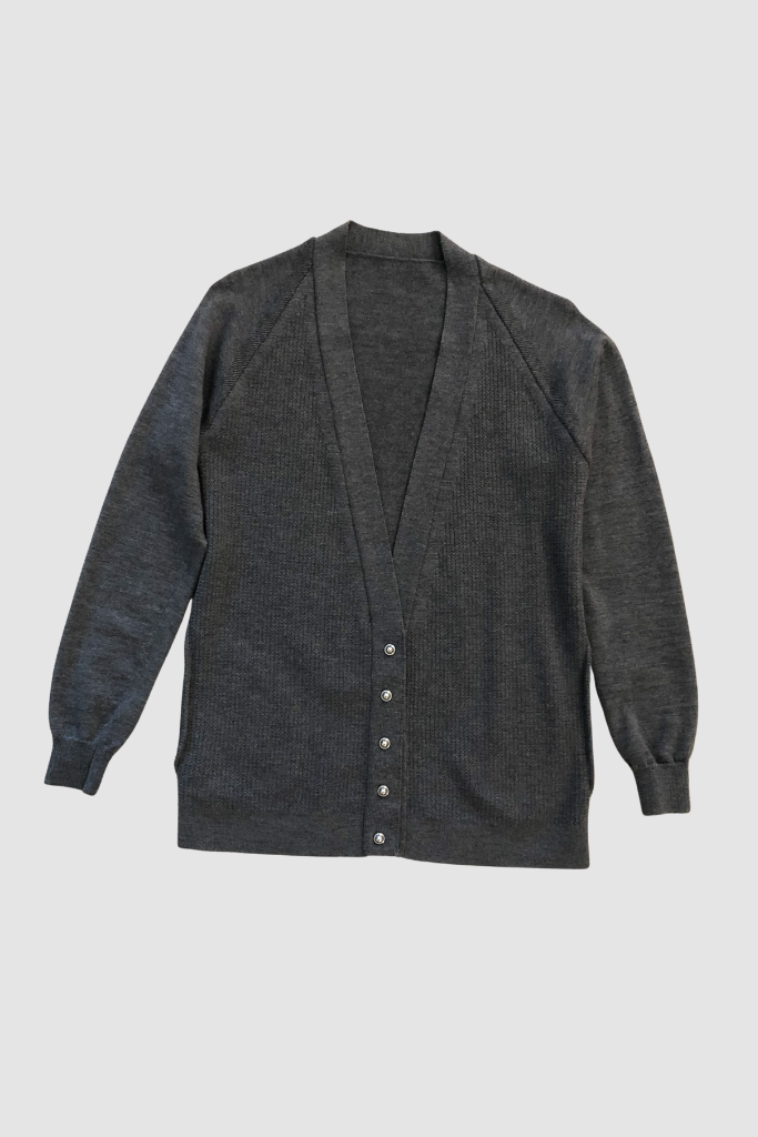 Grey Thermal Knit Wool Cardigan