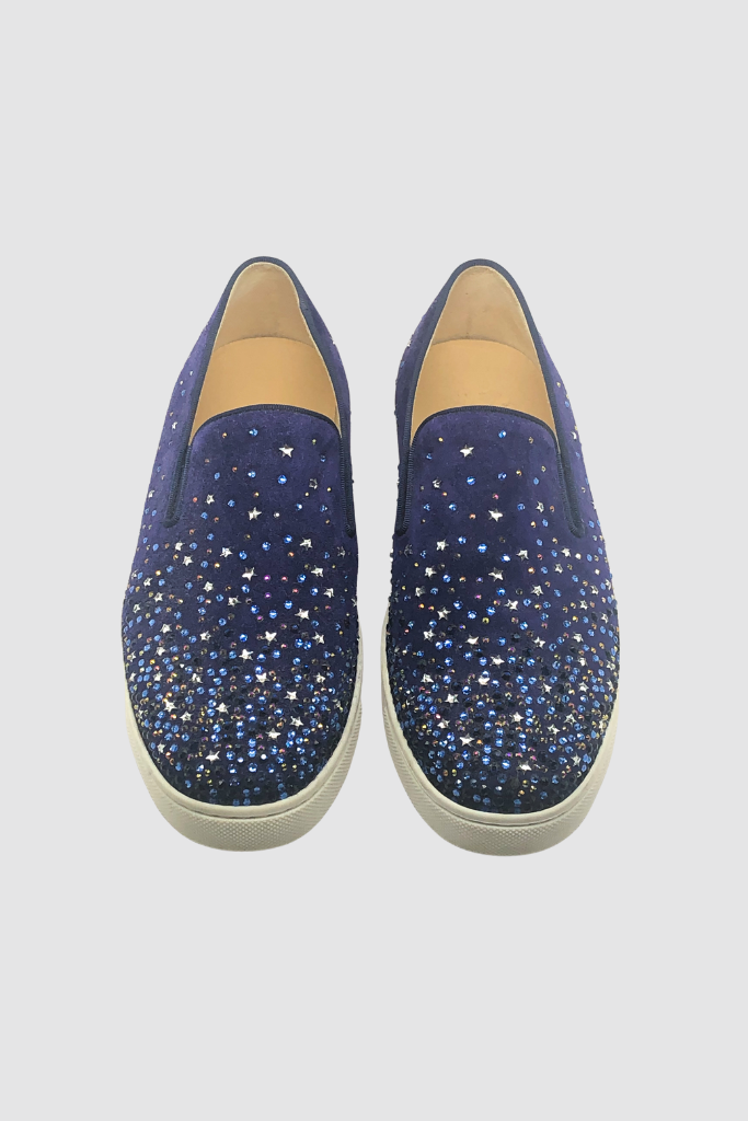 Blue Suede Strass Embellished Boat Sneakers