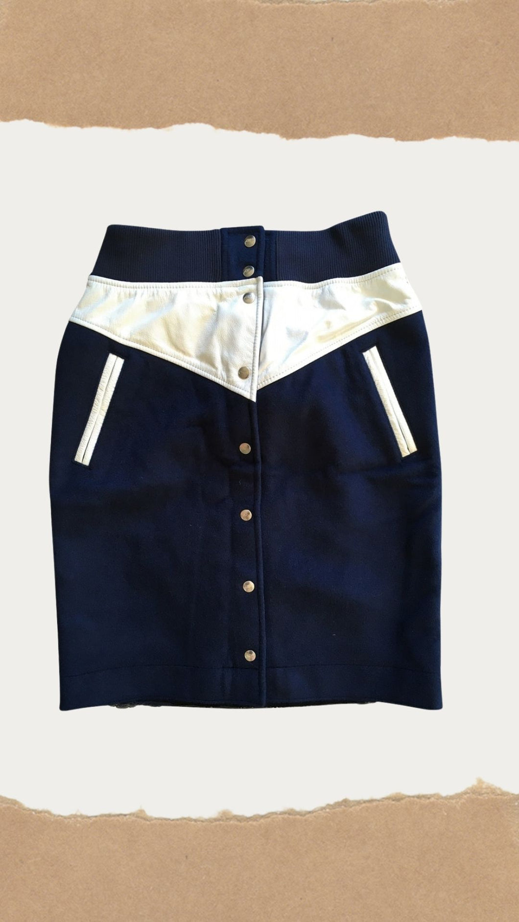 Navy Wool and White Leather trim Snap Button Skirt