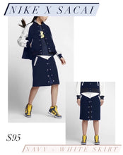 Load image into Gallery viewer, Navy Wool and White Leather trim Snap Button Skirt
