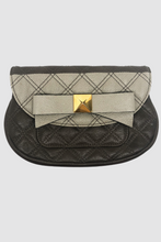 Load image into Gallery viewer, Taupe & Goldtone Bow Quilted Clutch