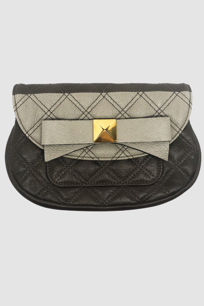 Taupe & Goldtone Bow Quilted Clutch