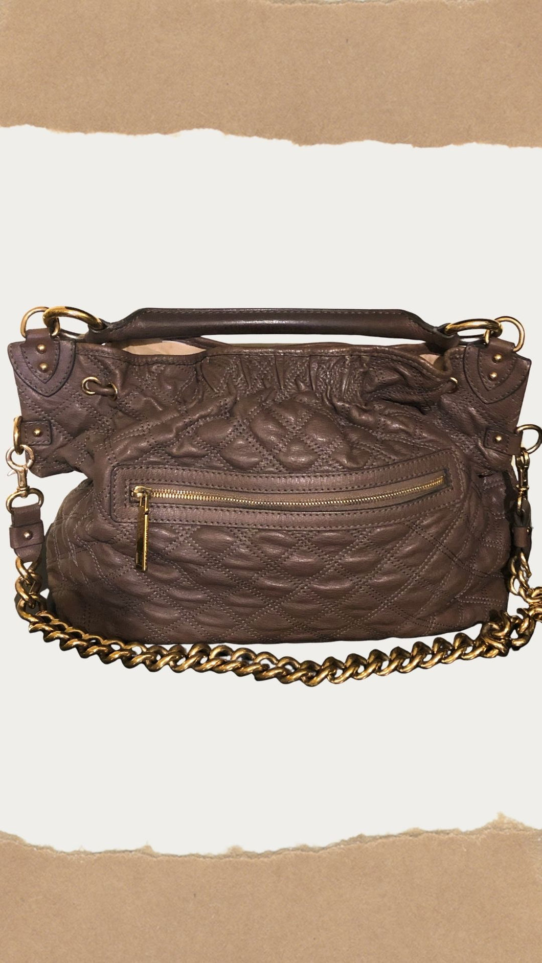 Chocolate Brown Calf Leather Quilted Bag