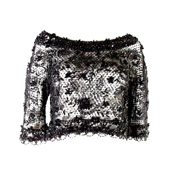 BLACK SEQUIN 3/4 SLEEVE CROPPED TOP