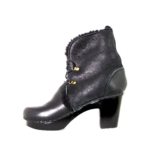 BLACK LEATHER FLEECE LINING LACE UP BOOT