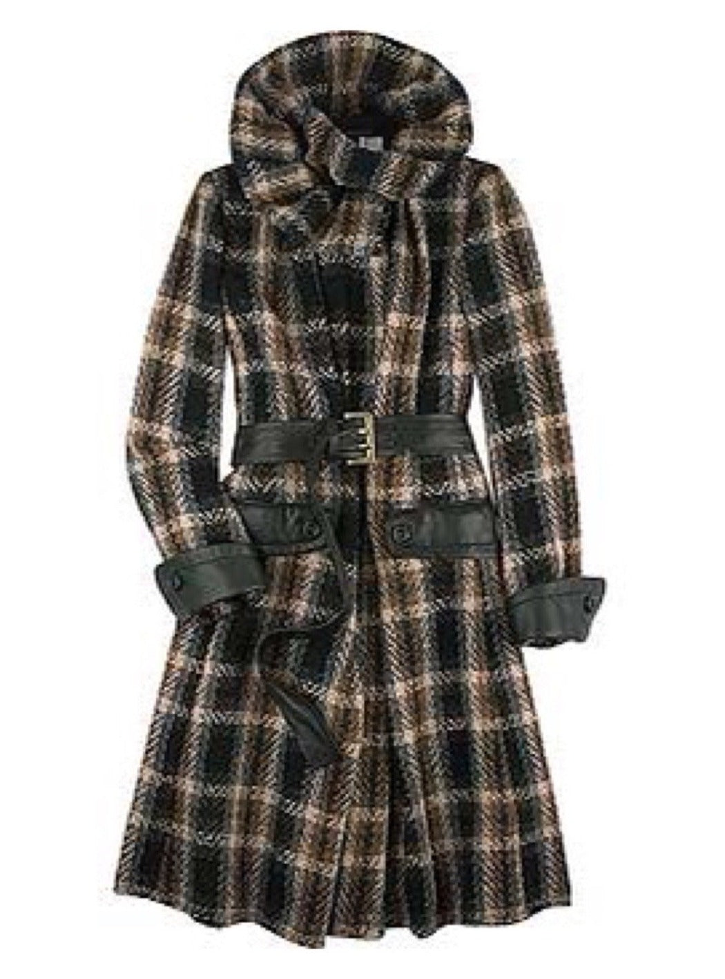 Tweed and Leather Funnel-Neck Trench