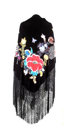 BLACK WITH MULTICOLOR FLORAL EMBROIDERY FRINGE SHAWL WRAP