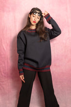 Load image into Gallery viewer, Black and Bordeaux Banded Sweatshirt