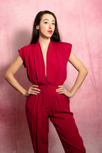 Load image into Gallery viewer, Red Plunge Jumpsuit