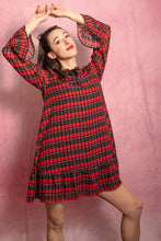 Load image into Gallery viewer, Red and Black Plaid Ruffle Bow Tie Flirty Dress