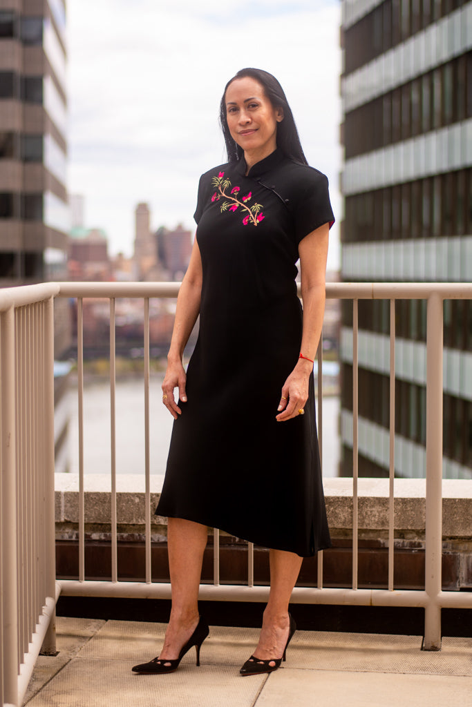 Black Floral Mandarin Collar Dress