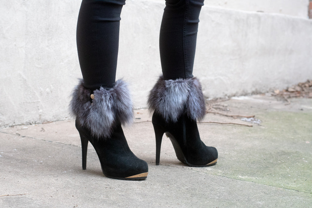 Black Suede Fur Cuff Ankle Boot