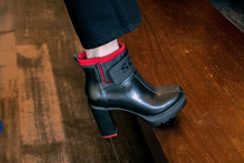 Load image into Gallery viewer, Black and Red Thick High Heel Pull On Ankleboot