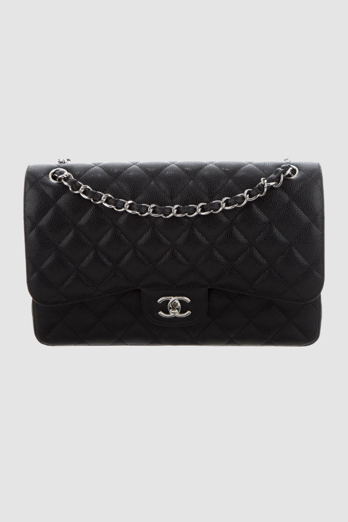 Black Quilted Caviar Jumbo Classic Double Flap Bag