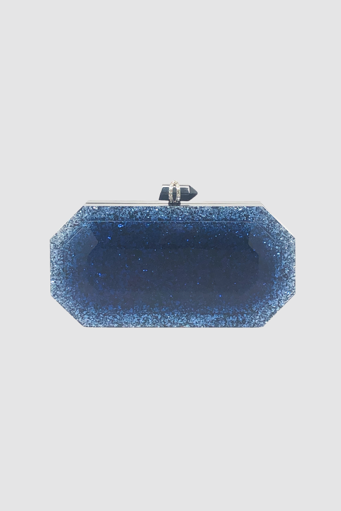 Blue Lucite Swarvorski Crystal Evening Case