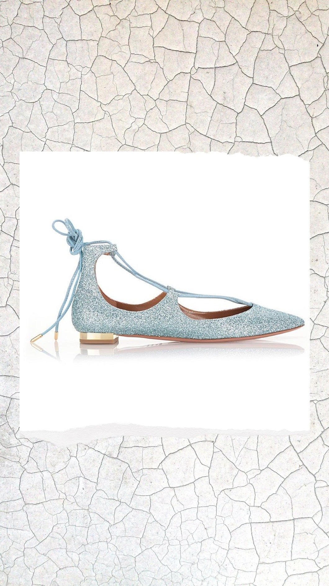 Blue Glitter Lace-up Pointed Flats
