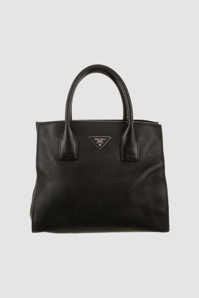 Black Pebbled Leather Shopping Tote