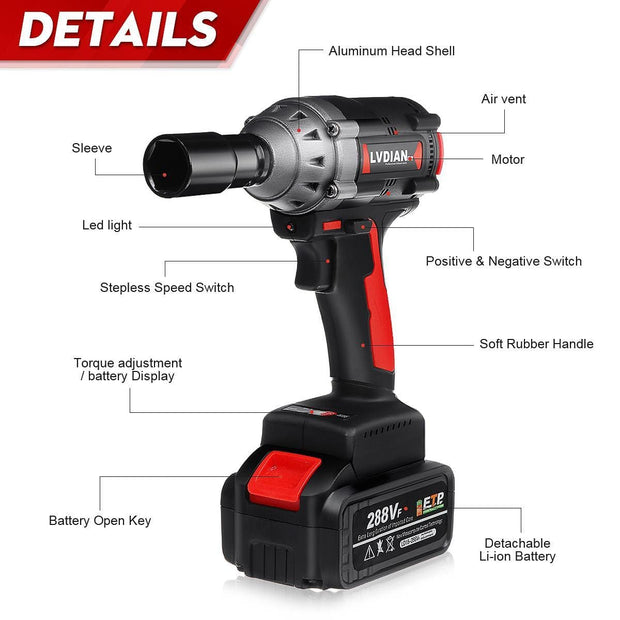 Simply Gadgets 600Nm High Torque Impact Wrench Home and Garden