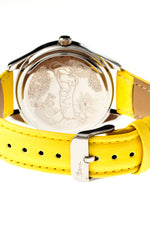 Boum Chic Mirror-Dial Leather-Band Ladies Watch - Silver/Yellow