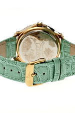 Boum Belle Crystal-Bezel Leather-Band Ladies Watch - Gold/Mint