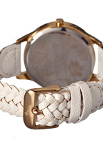 Boum Marin Braided-Leather-Band Ladies Watch - Gold/White