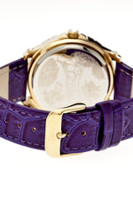 Boum Belle Crystal-Bezel Leather-Band Ladies Watch - Gold/Purple