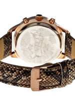 Boum Serpent Leather-Band Ladies Watch w/ Day/Date - Rose Gold/Brown