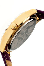 Boum Chic Mirror-Dial Leather-Band Ladies Watch - Gold/Purple