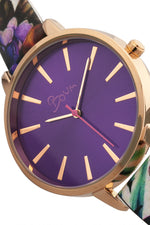 Boum Insouciant Leatherette Watch - Rose Gold/Purple